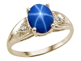 Tommaso Design™ Created Star Sapphire and Genuine Diamond Ring. Ring.