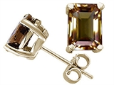 Tommaso Design™ Emerald Cut 8x6mm Genuine Smoky Quartz Earrings