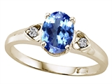 Tommaso Design™ Oval 7x5mm Genuine Tanzanite and Diamond Ring