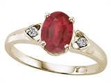 Tommaso Design™ Genuine Oval Ruby and Diamond Ring