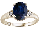 Tommaso Design™ Oval Genuine Sapphire and Diamond Ring