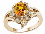 Tommaso Design™ Pear Shape 8x6mm Genuine Citrine Ring style: 24622