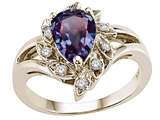 Tommaso Design™ Pear Shape 8x6 mm Simulated Alexandrite And Genuine Diamond Ring