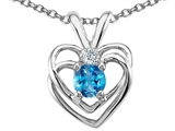 Tommaso Design Round 4mm Genuine Blue Topaz and Diamond Heart Pendant