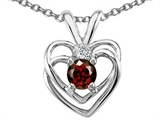 Tommaso Design Round 4mm Genuine Garnet and Diamond Heart Pendant