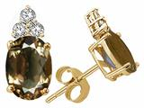 Tommaso Design™ Oval 8x6mm Genuine Smoky Quartz Earrings style: 24718