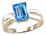 Tommaso Design Emerald Cut 8x6 mm Genuine Blue Topaz Ring