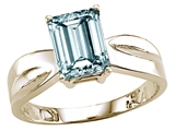 Tommaso Design™ Genuine Emerald Cut Aquamarine Ring