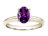 Tommaso Design™ Oval 8x6mm Genuine Amethyst Solitaire Engagement Ring