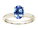 Tommaso Design Genuine Tanzanite Oval 7x5mm Solitaire Engagement Ring