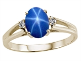 Tommaso Design™ Created Star Sapphire and Genuine Diamonds Ring