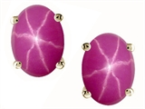 Tommaso Design™ Oval 8x6mm Created Star Ruby Earring Studs