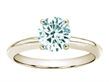 Tommaso Design™ 7mm Round Genuine Aquamarine Solitaire Engagement Ring