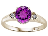Tommaso Design™ Round Genuine Amethyst and Diamond Engagement Ring
