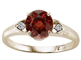 Tommaso Design Round Genuine Garnet and Diamond Engagement Ring