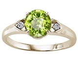 Tommaso Design Round 7mm Genuine Peridot and Diamond Engagement Ring