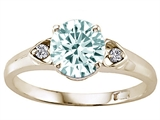 Tommaso Design Round Genuine Aquamarine and Diamond Engagement Ring