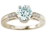 Tommaso Design™ Genuine Aquamarine and Diamond Engagement Ring