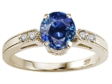 Tommaso Design™ Created Sapphire and Diamond Engagement Ring