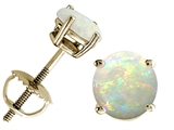 Tommaso Design Round 5mm Genuine Opal Screw Back Earring Studs