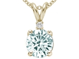 Tommaso Design™ Round 7mm Genuine Aquamarine and Diamond Pendant style: 24808