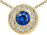 Tommaso Design™ Round 5mm Genuine Sapphire Pendant style: 24811