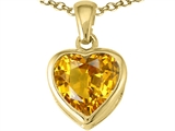 Tommaso Design Heart Shape Genuine Citrine Pendant