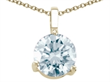 Tommaso Design Genuine Round Aquamarine Solitaire Pendant