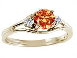 Tommaso Design™ Round Genuine Orange Sapphire and Diamond Ring