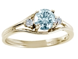 Tommaso Design Round Genuine Aquamarine and Diamond Ring