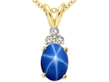 Tommaso Design Oval 8x6mm Created Star Sapphire and Genuine Diamond Pendant