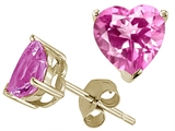Tommaso Design Heart Shape 6mm Simulated Pink Topaz Earring Studs