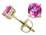 Tommaso Design™ Round 6mm Created Pink Sapphire Screw Back Earring Studs