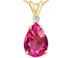 Tommaso Design™ Created Pear Shaped 9x7mm Pink Sapphire and Genuine Diamond Pendant