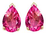 Tommaso Design™ Pear Shape 10x7mm Created Pink Sapphire Earrings Studs style: 25101