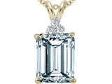 Tommaso Design Emerald Cut 10x8 mm Genuine Aquamarine and Diamond Pendant