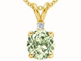 Tommaso Design™ Round 7mm Genuine Green Amethyst and Diamond Pendant