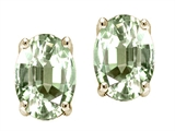 Tommaso Design Oval Genuine Green Amethyst Earrings