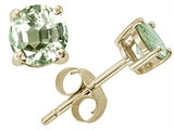 Tommaso Design™ Genuine Round Green Amethyst Earrings Studs