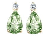 Tommaso Design Pear Shape 8x6mm Genuine Green Amethyst and Diamond Earrings