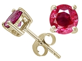 Tommaso Design 5mm Round Genuine Ruby Earring Studs