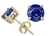 Tommaso Design™ Round 5 mm Genuine Sapphire Earrings Studs style: 25350