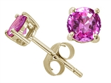 Tommaso Design™ Round 6mm Created Pink Sapphire Earrings Studs style: 25358