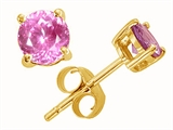 Tommaso Design Round 6mm Simulated Pink Topaz Earring Studs