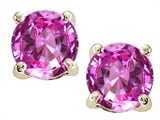 Tommaso Design Round 7mm Created Pink Sapphire Earring Stud