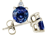 Tommaso Design™ Round 5.5mm Genuine Sapphire and Diamond Stud Earrings