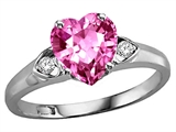 Tommaso Design™ Heart Shape 8mm Created Pink Sapphire and Genuine Diamond Ring