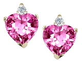 Tommaso Design Heart Shape 6 mm Simulated Pink Topaz And Genuine Diamonds Earring Studs