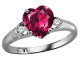 Tommaso Design Heart Shape 8mm Created Ruby and Genuine Diamond Engagement Promise Ring