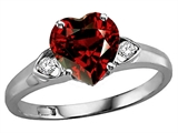 Tommaso Design™ Heart Shape Genuine Garnet and Diamond Ring